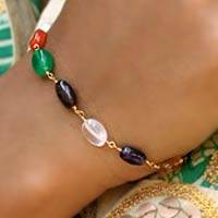 Gold vermeil and pearl link bracelet, 'Rainbow Glamour' - Fair Trade Gold Vermeil Multigem Bracelet