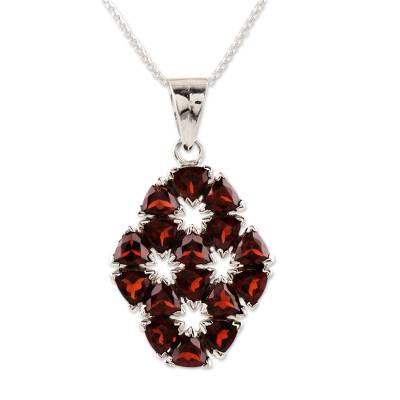 Handcrafted Floral Sterling Silver and Garnet Necklace