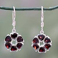 Garnet flower earrings, 'Glorious' - Fair Trade Floral Sterling Silver and Garnet Earrings