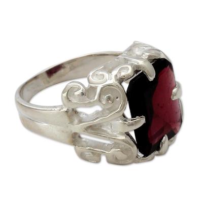 Handmade Sterling Silver Single Stone Garnet Ring