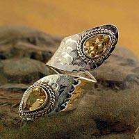 Citrine wrap ring, 'Golden' - Sterling Silver Wrap Ring with Citrine Gemstone Jewelry