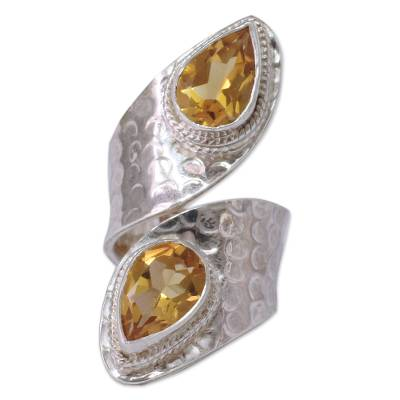 Sterling Silver Wrap Ring with Citrine Gemstone Jewelry