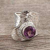 Amethyst wrap ring, 'Regency' - India Jewelry Silver and Amethyst Wrap Ring