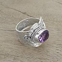 Amethyst wrap ring, 'Her Majesty' - Sterling Silver Wrap Amethyst Ring India Jewelry