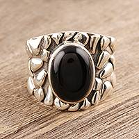 Men's onyx ring, 'Dark Clouds' - Men's Silver and Onyx Domed Ring