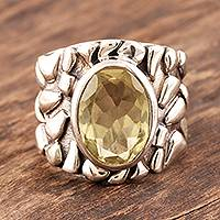 Men's sterling silver ring, 'Golden Clouds' - Men's Jewelry Silver and Quartz Ring from India