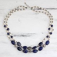 Pearl and lapis lazuli strand necklace, 'Delhi Princess' - Pearl and lapis lazuli strand necklace