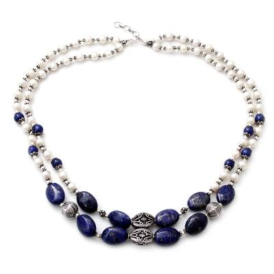 Pearl and lapis lazuli strand necklace