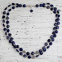Lapis lazuli strand necklace, 'Midnight Breeze' - Beaded Lapis Lazuli Necklace