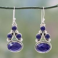 Lapis lazuli dangle earrings, 'Love Foretold' - Sterling Silver Jewelry Lapis Lazuli Earrings
