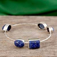 Lapis lazuli bangle bracelet, 'Depth' - Sterling Silver Bangle Bracelet with Lapis Lazuli