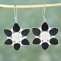 Onyx and rose quartz flower earrings, 'Night Blossom' - Onyx Rose Quartz Flower Jewelry Earrings