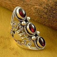 Garnet cocktail ring, 'True Love' - Garnet and Sterling Silver Cocktail Ring from India
