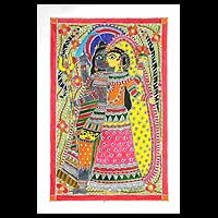 Madhubani painting, 'The Union' - Madhubani painting