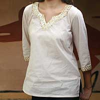 Beaded cotton tunic, 'Modern Princess' - Cotton Embroidered Beige Tunic Top