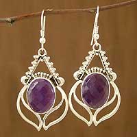 Amethyst dangle earrings, 'Plum Blossom' - Sterling Silver and Amethyst Earrings from India Jewelry