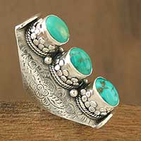 Turquoise cocktail ring, 'Princess Trio' - Turquoise cocktail ring