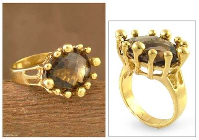 Vermeil and Smoky Quartz Ring from India