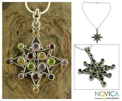 Amethyst and garnet pendant necklace, 'Tropical Bloom' - Amethyst and garnet pendant necklace
