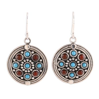 Turquoise and carnelian dangle earrings