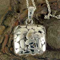Sterling silver pendant necklace, 'Shining Cloud' - Fair Trade Artisan Jewelry Sterling Silver Indian Necklace