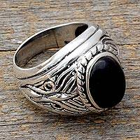 Men's onyx ring, 'Dark Waves' - Artisan Crafted Men's Onyx and Sterling Silver Ring