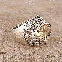 Men's citrine ring, 'Prosperity' - Men's Sterling Silver Domed Ring with Citrine