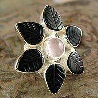 Onyx and rose quartz flower ring, 'Unforgettable' - Onyx and rose quartz flower ring