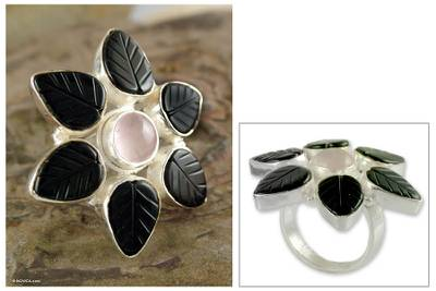 vintage black hills silver rings - Onyx and rose quartz flower ring