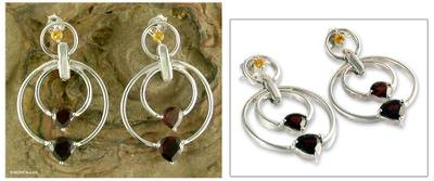 Garnet and citrine dangle earrings, 'Love's Companion' - Garnet and Citrine on Sterling Silver Post Earrings