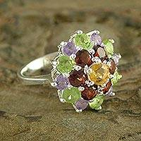 Amethyst and garnet cluster ring, 'Floral Bouquet' - Amethyst and Garnet Sterling Silver Cluster Ring from India
