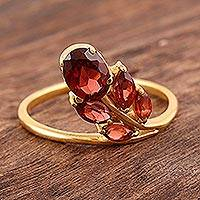 Gold vermeil garnet cocktail ring, 'New Life' - Artisan Crafted Floral Vermeil Multi-stone Garnet Ring