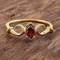 Gold vermeil garnet solitaire ring, 'Marquise' - Vermeil Solitaire Garnet Ring India Jewelry