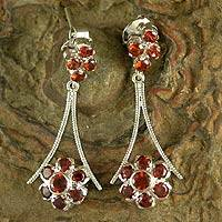 Garnet dangle earrings, 'Elegance' - Garnet dangle earrings