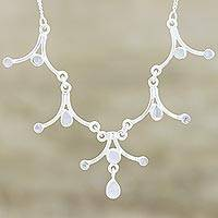 Moonstone Y necklace, 'Mystical Dreamer' - Moonstone and Sterling Silver Necklace Indian Jewelry