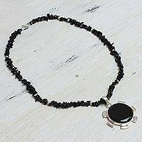 Onyx pendant necklace, 'Satellite' - Onyx pendant necklace
