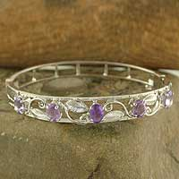 Amethyst bangle bracelet, 'Blossom' - Amethyst bangle bracelet