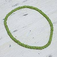 Peridot long necklace, 'Summer' - Peridot long necklace