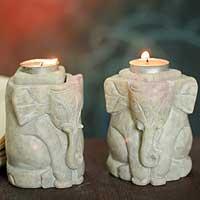 Soapstone candleholders, 'Baby Elephants' (pair) - Natural Soapstone Hand Carved Candle Holders (Pair)