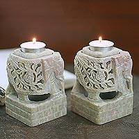 Soapstone candleholders, 'Floral Elephants' (pair) - Animal Themed Candle Holder Soapstone Elephant Pair Set