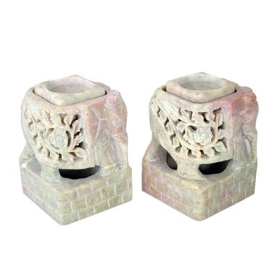 Animal Themed Candle Holder Soapstone Elephant Pair Set