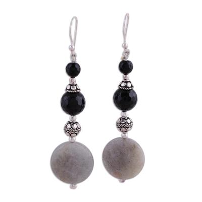 Onyx and labradorite dangle earrings