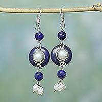 Pearl and lapis lazuli dangle earrings, 'Universe' - Hand Crafted Pearl and Lapis Lazuli Earrings
