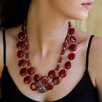 Carnelian strand necklace, 'Star of Fire' - Necklace of Indian Carnelian