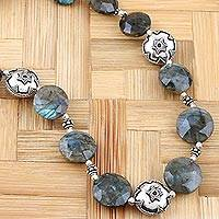 Labradorite strand necklace, 'Indian Stars' - Beaded Labradorite and Sterling Silver Necklace from India