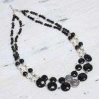 Pearl and onyx double strand necklace, 'Midnight Dreams' - Unique Onyx and Pearl Necklace