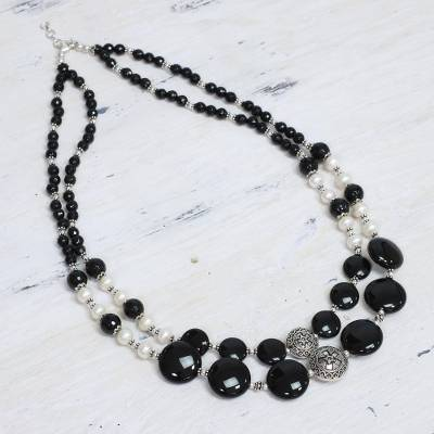 Pearl and onyx double strand necklace, 'Midnight Dreams' - Pearl and onyx double strand necklace