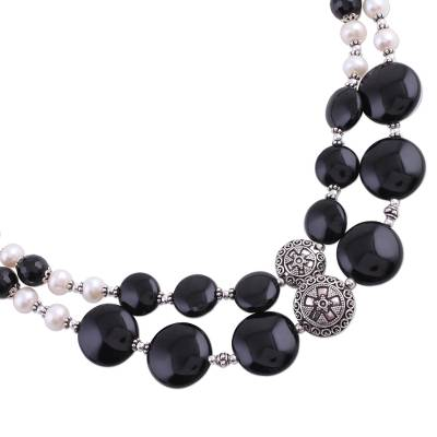 Pearl and onyx double strand necklace