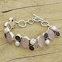 Pearl and rose quartz charm bracelet,