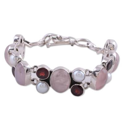 Pearl Rose Quartz and Garnet Bracelet from India